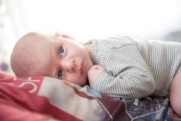 Foto Baby liegt auf dem Bauch seines Vaters und schaut mit großen blauen Augen